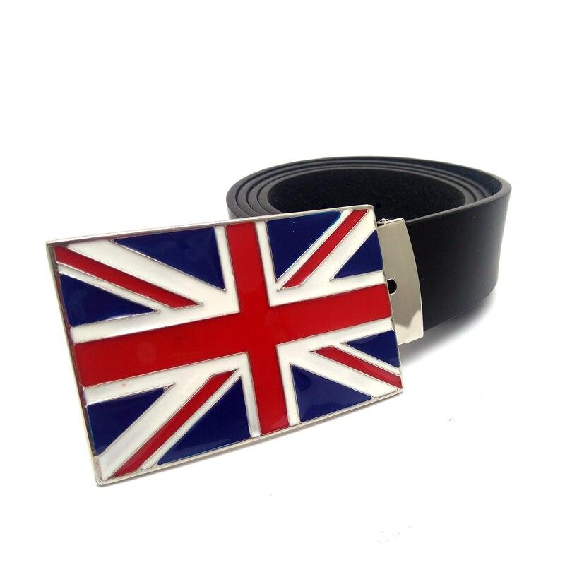 Cowboy Belt men Black pu leather with union jack British flag metal belt buckle plus siz ...
