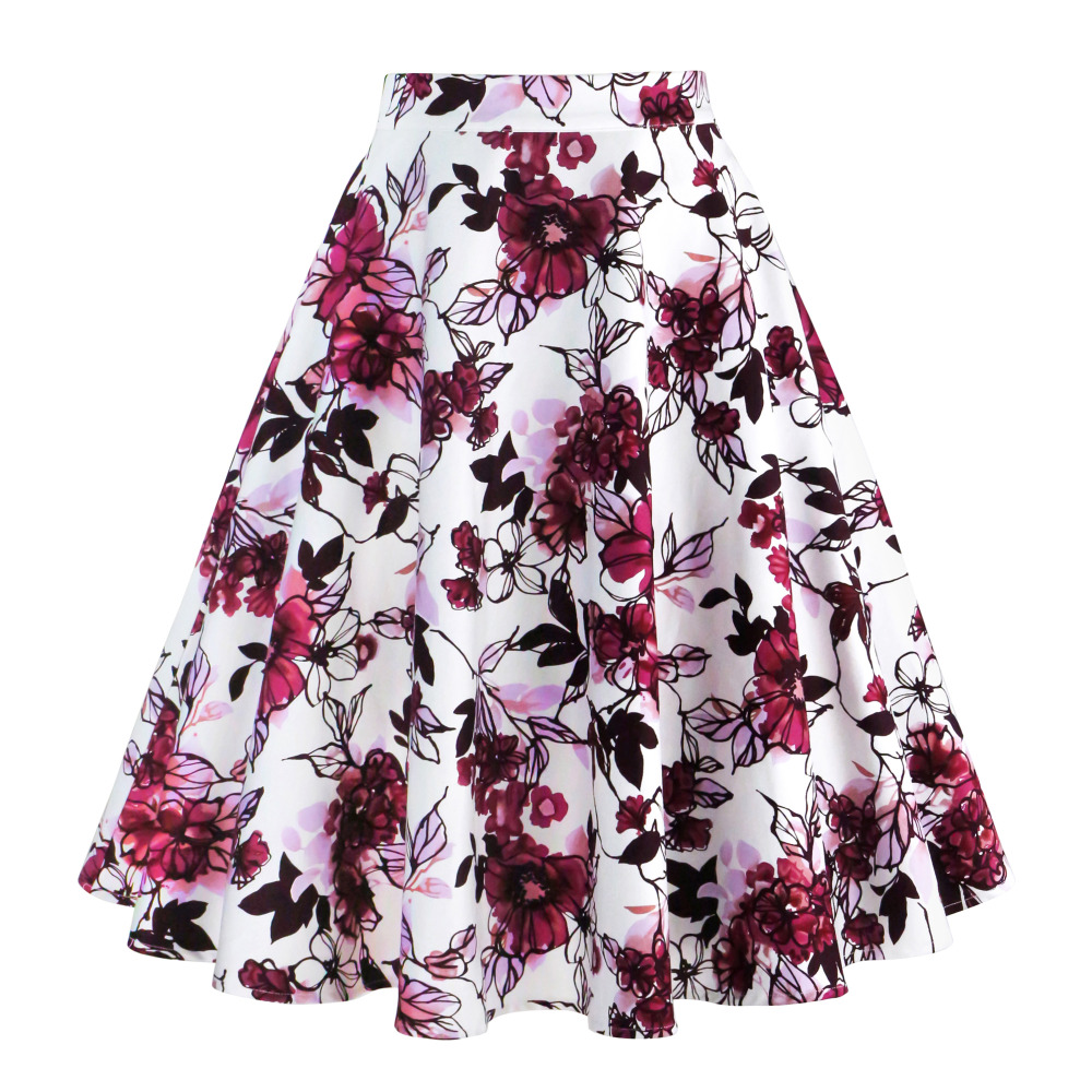 2019 New Arrival Summer A Line Vintage Floral Skirt 50s Pin Up Style Rockabilly Swing Skirts Women Retro High Waist Midi Skirt