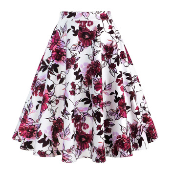 Novedad verano 2019, falda Floral estilo años 50, falda Swing Rockabilly estilo Retro, falda A media pierna de cintura alta para mujer