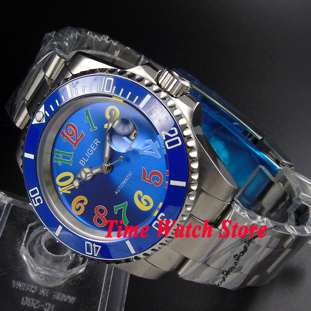 Bliger 40mm blue dial date luminous saphire glass blue Ceramic Bezel Automatic movement Men's watch BL109 цена