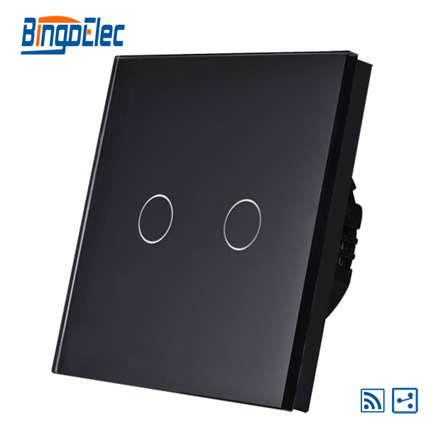 the latest c4cd5 46da3 2 Gang 2way interruptor de luz, panel de cristal negro interruptor de  sensor táctil, AC110-240V, Venta caliente
