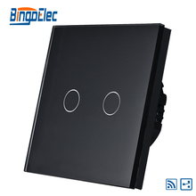 2gang 2way remote light switch,black glass panel touch sensor switch,AC110-240V,Hot Sale