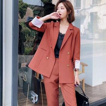 efaa860dc2af 2018 otoño invierno nuevo coreano rojo Delgado negocios Blazer + pantalón 2  conjunto de dos piezas mujer Oficina señora muesca chaqueta pantalones  trajes