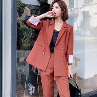 Fashion 2 Pieces Set Double Breasted Blazer & Long Pant Suit Women Casual Jacket Workwear Sets Femme High Quality Suit