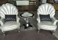 Russian style 2pcs single sofa set with a coffee table fashion personality leisure chair gold and white foil leather