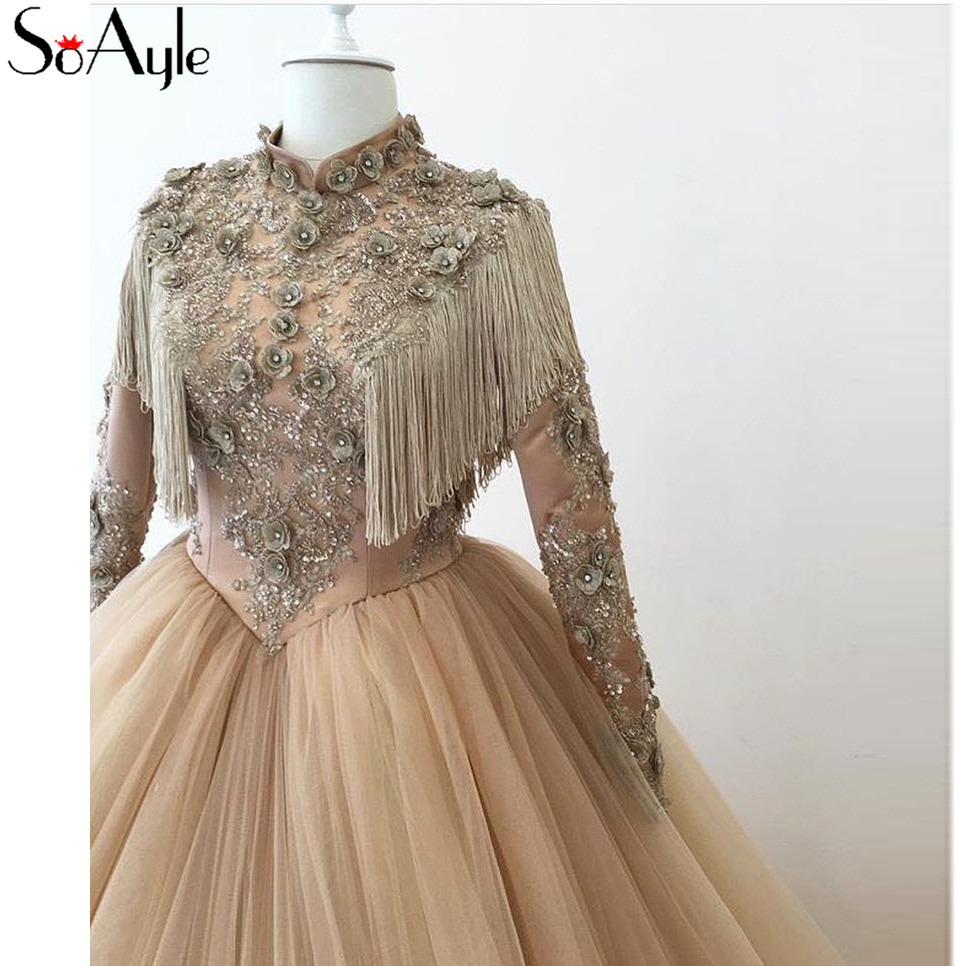 Detail Feedback Questions about SoAyle Ball Gown High Neck Long Sleeves  Muslim Dresses Evening Dresses 2018 Lace Applique Tassel Flowers Long Prom  Ball ... 8956ebb55fb6