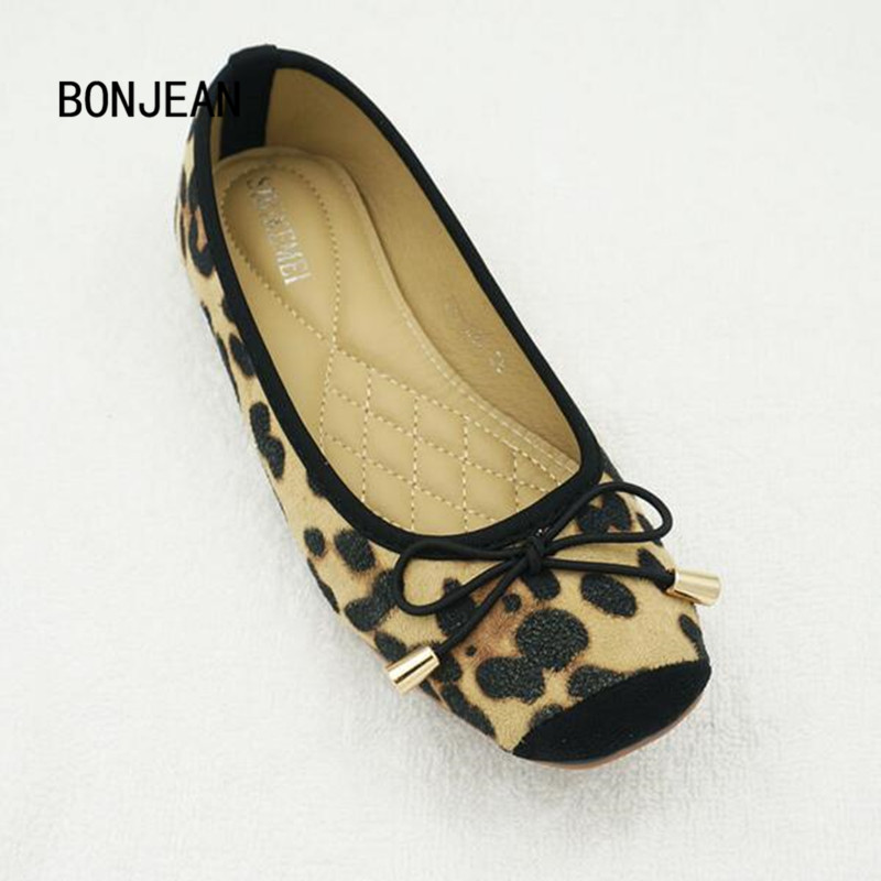 Women Shoes Leopard Flats Leather Ballet Flats Butterfly-knot Casual Sequined Pointed Toe Shoes Woman For Summer Plus Size 35-42 2017 spring summer new women casual pointed toe loafers flats ballet ballerina flat shoes plus size 34 43
