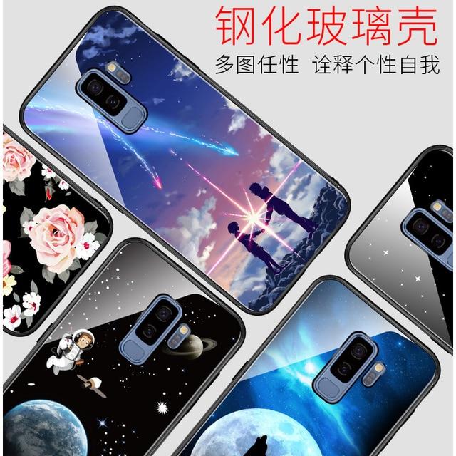 2 pcs Cas En Verre Trempé Pour Samsung Galaxy S9 S9 Plus + cas S 9 S9 PLUS  De Luxe de protection Couverture Arrière Rose Antichoc 9061b3b9429f
