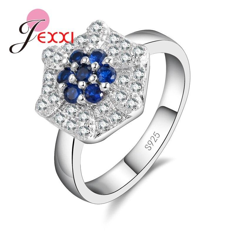 Módní Dámské Stříbrné Prsteny Svatební Šperky Ročník Valentýn Dárek CZ Crystal Zásnubní Párty Skupiny Prsten