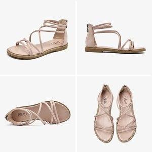 Image 5 - BeauToday שטוח סנדלי נשים ילד זמש עור רוכסן סגירת צלב קשור כיסוי העקב גבירותיי קיץ חוף נעלי 33008
