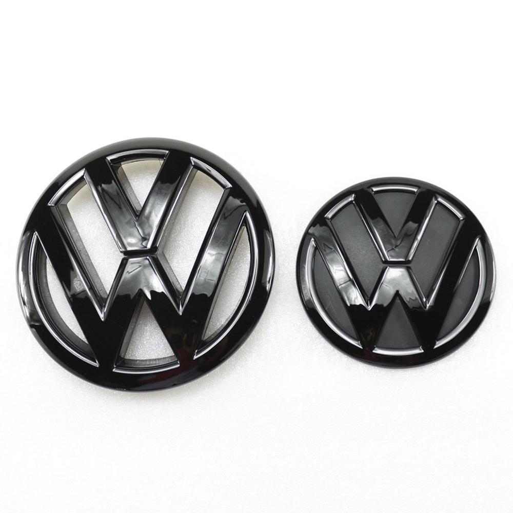 Глянцевый черный 145 мм логотип на переднюю решетку автомобиля + 110 мм значок на замену задней крышки багажника для VW Volkswagen Tiguan 2009-2014