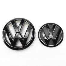 Brilho preto para frente da grelha de 145mm, emblema de substituição para porta-malas traseiras de 110mm, emblema para vw volkswagen tiguan 2009-2014