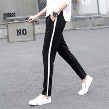 2018 Autumn And Winter Women Casual Sweatpants black White Striped Printed Side Pant Ladies Loose Trousers Joggers Sweat Pants S