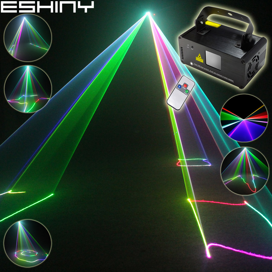 ESHINY RGB Laserlinjer Strålscanningar 400 Remote DMX DJ Dance Bar Kaffe Xmas Home Party Disco Effect Lighting Light System N9D77
