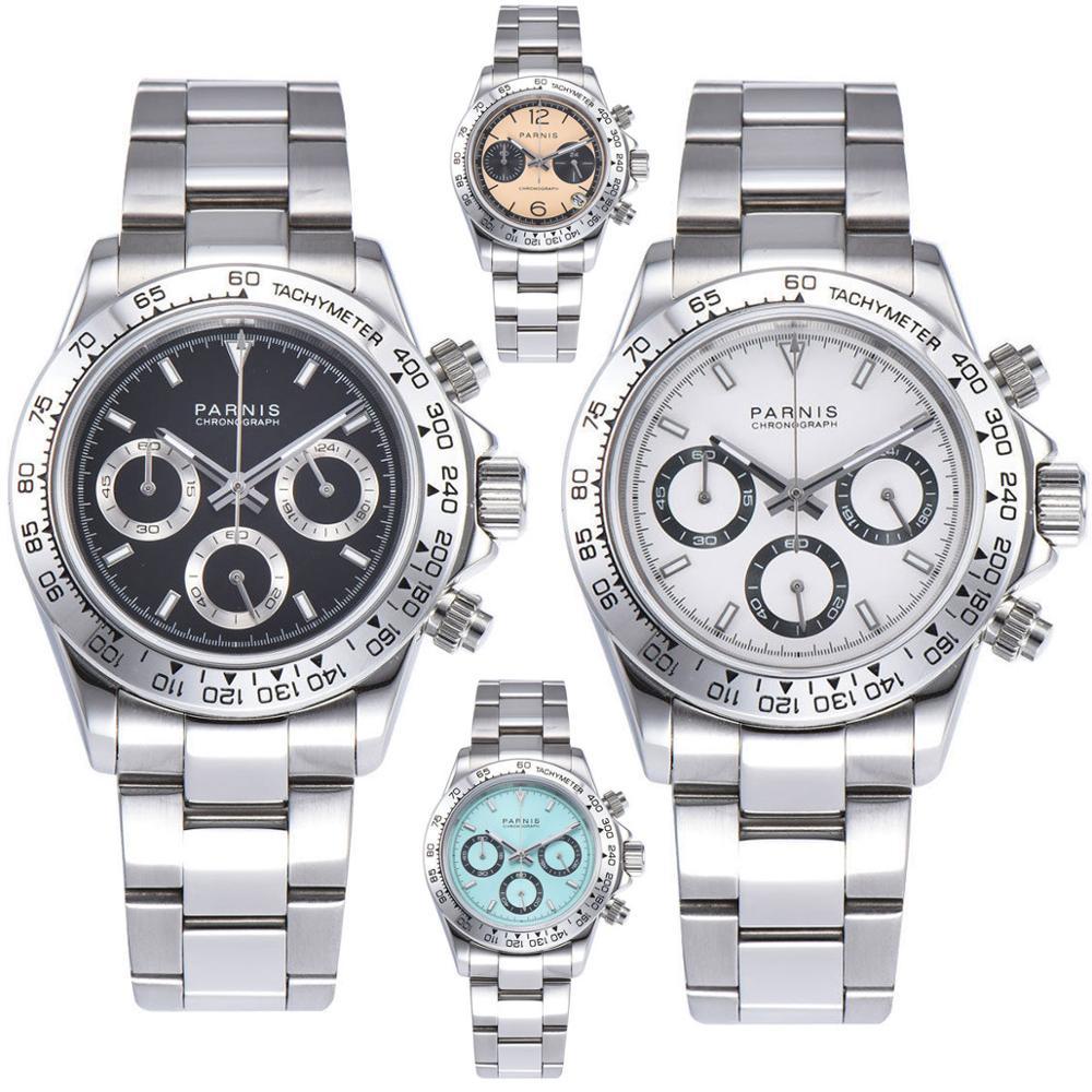 Hommes Quartz Montres 39mm PARNIS luxueux horloge saphir cristal déploiement fermoirs plein Chronographe à quartz mens watch