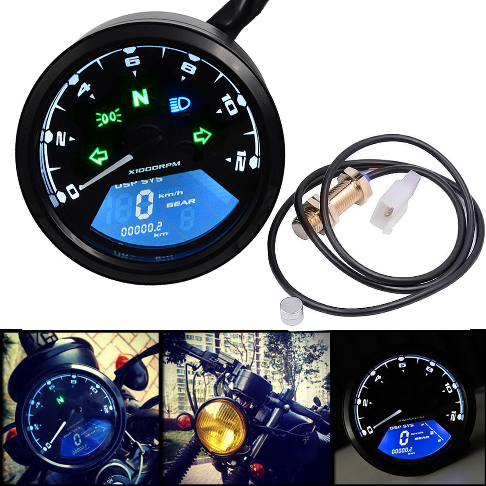 Motorcycle Waterproof LCD Digital Speedometer Odometer Tachometer 12000RMP Fuel Meter 1-4 Cylinders Motor Instrument Gauge Refit цена