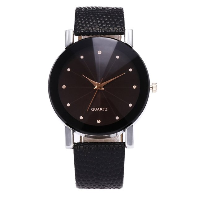 Couples Quartz Watches Leather Wristband Students Stylish Wristwatch Lover Line