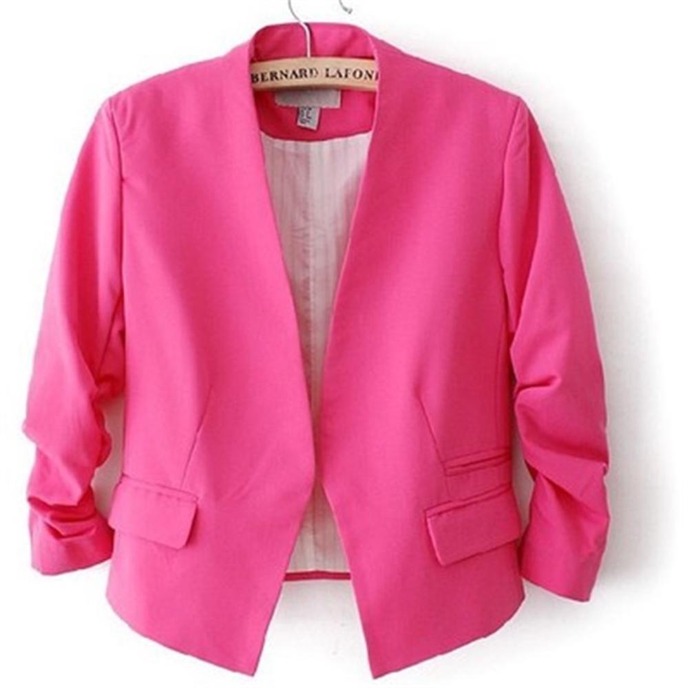 2018 Spring Thin Female blazer Casual Slim Women Blazer and Jackets Plus Size European Style Short Office Lady Work blazer Coat 1