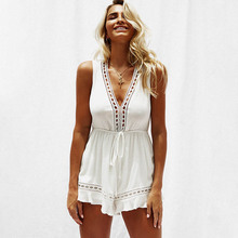 NiceMix 2019 New Sexy Bodysuit Solid Color Women Sleeveless Jumpsuit Playsuit Body Feminino Bohemian Casual Summer Boho Clothes