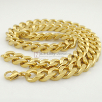 2015 Stainless Steel Gold Plated Men Cuban Chain Necklace Jewellery Hip Hop Cool 12mm 60cm Wholesale