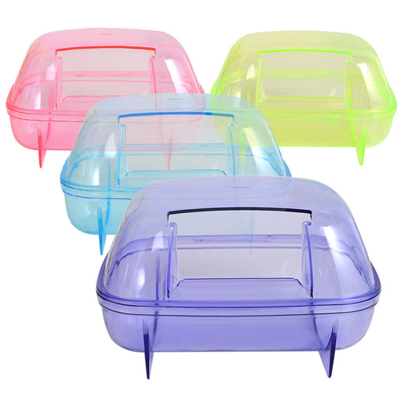 1pc 18*12*11cm Square Plastic Transparent House Cage Toy Hamster Mouse Gerbil Sauna Bath Sand Bath Room Nest Random Color