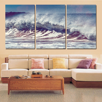 2016 New 3 Panels Art Large Seawater Picture Landscape Painting Modern Oil Canvas Print Painting For
