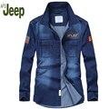 Afs Jeep 2016 new men's long-sleeved shirt fall youth casual denim shirt fashion comfortable solid color men shirt 98