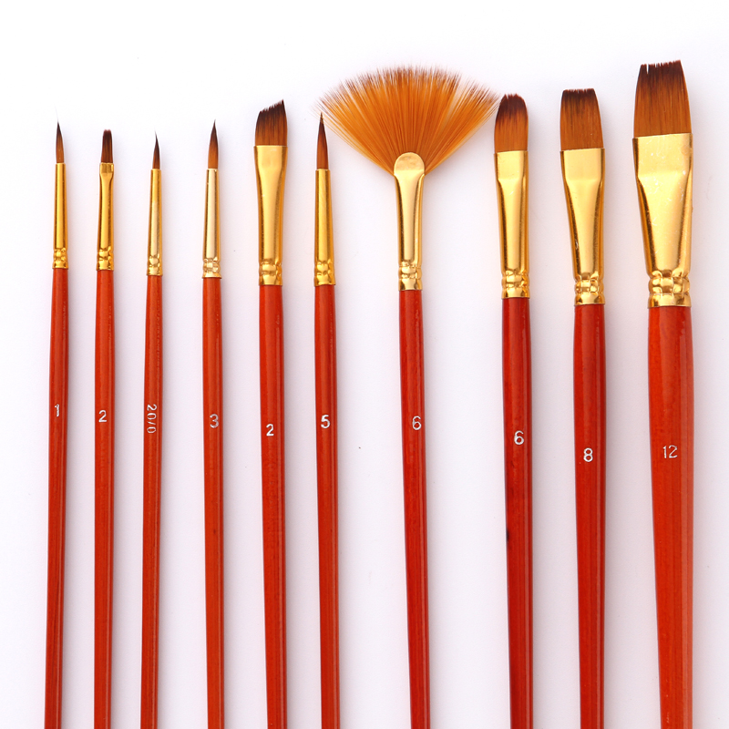 10Pcs Paint Brushes Set Nylon Hair Painting Brush Short Rod Oil Acrylic Brush Watercolor Pen Professional Art Supplies
