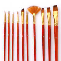10Pcs Paint Brushes Set Nylon Hair Painting Brush Short Rod Oil Acrylic Brush Watercolor Pen Professional Art Supplies