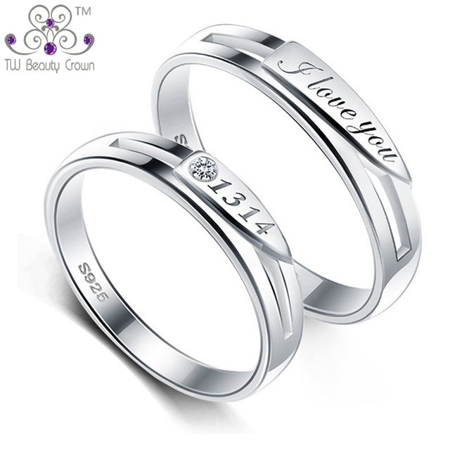 a83d54321e Real 925 Sterling Silver White CZ I Love You 1314 Lovers Rings For Men And  Women Engagement Fashion Jewelry Valentine's Gifts