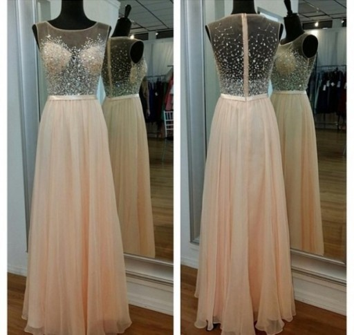 Elegant Fashion   Prom     Dress   A-line O-neck Beaded Crystals Ruffle Free Shipping Formal   Prom   Party   Dress   Vestidos