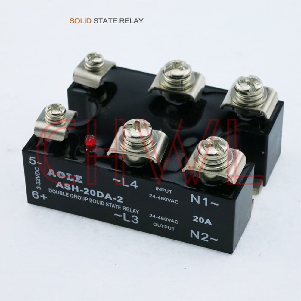 Free shipping ASH-20DA-2 SSR DC-AC two-phase <font><b>20A</b></font> <font><b>Relay</b></font> double group Solid State <font><b>Relay</b></font> image