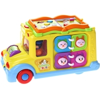 Huiyu 796 Intelligent Campus Bus Toy Car Children S Puzzle Early Childhood Education Toy Car Electric