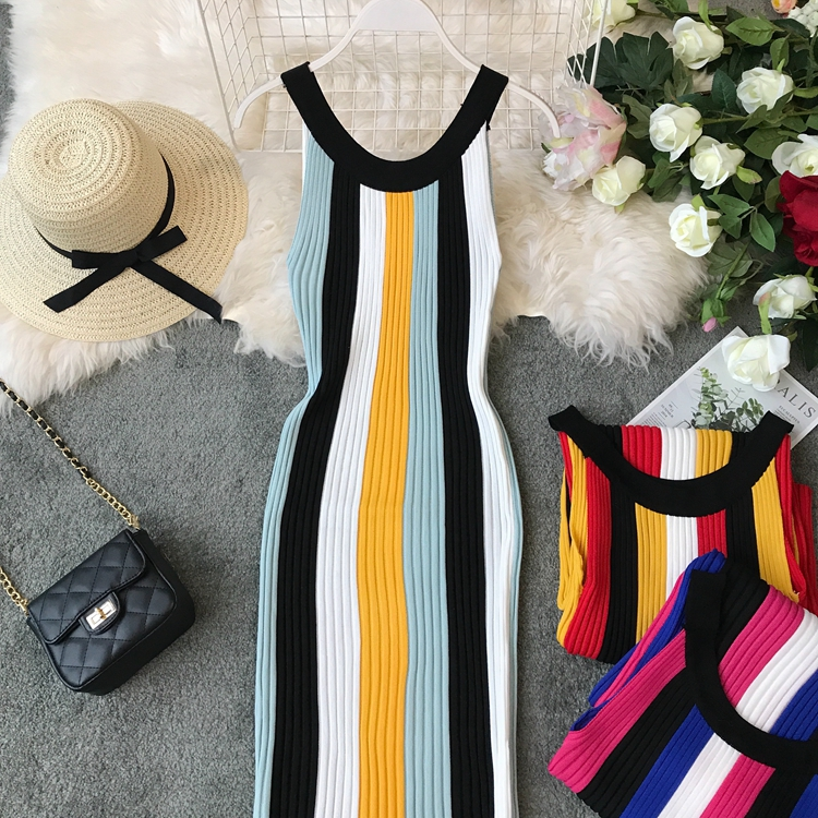 ALPHALMODA Summer 2019 New Round Neck Rainbow Vertical Striped Women Vintage Sexy Knit Dress Sleeveless Pullovers Ladies Vestido 6