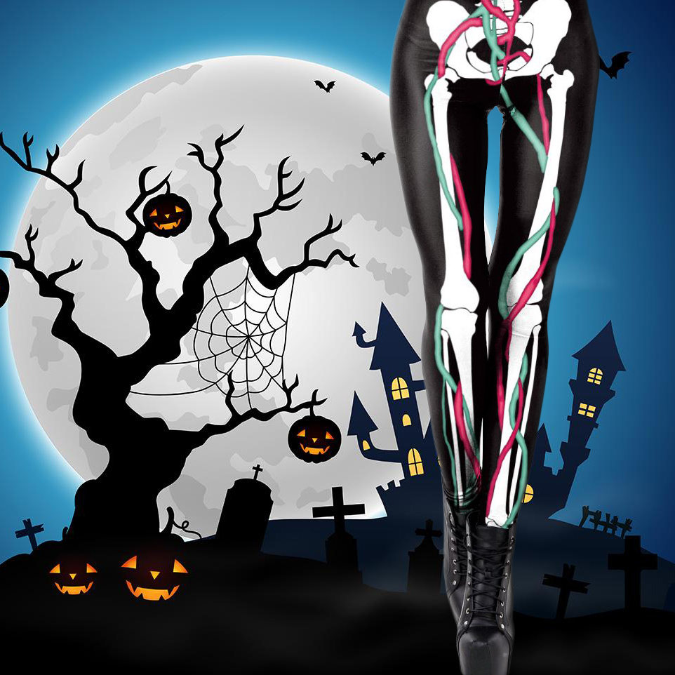 New Horny Halloween 3D Cranium Leg Bones Print Punk Leggings Girls Cosplay Zombie Slim Legging Horror Pumpkin Head Print Legging