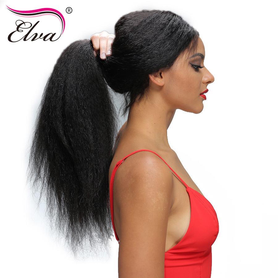 Elva Hair 250% Density 360 Lace Frontal Wig Pre Plucked Brazilian Kinky Straight Human Hair Wig Bleacked Knots Remy Hair 10″-22″