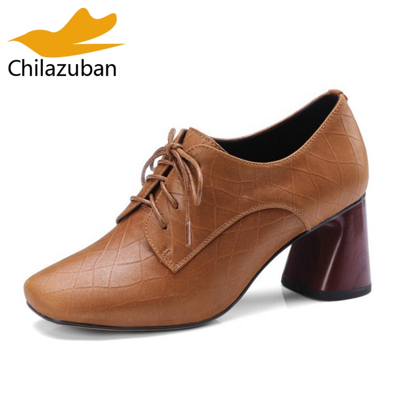 Chilazuban Size 33-42 Sexy Lady Genuine Leather High Heel Shoes Women Cross Strap Thick Heel Pumps Party Shoes Women Footwear kemekiss size 32 43 sexy lady platform high heel shoes women ankle strap thick heel pumps party club office shoes women footwear