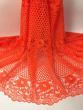 Gorgeous orange wedding apparel material French cord lace embroidery water soluble lace fabric for dress JWZ8-4(5yards/lot)