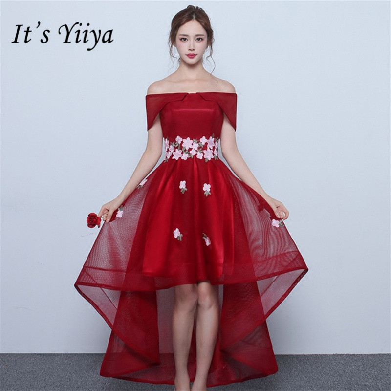 It's YiiYa Sexy Boat Neck Tiered   Prom     Dresses   High-Low Tea-Length Formal   Dress   Party Gown QJ003