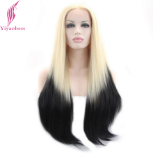 Yiyaobess Light Blonde Black Ombre Lace Front Wig Synthetic Natural Hair Two Tone Glueless Long Straight Wigs For White Women wignee hand made front ombre color long blonde synthetic wigs for black white women heat resistant middle part cosplay hair wig