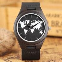 Mapa Do Mundo Relógios Criativos Feitos À Mão A Partir Da Natureza de Madeira de Ébano casuais Mens Relógio de Pulso De Couro Geninue Banda Strap Relógios de Quartzo