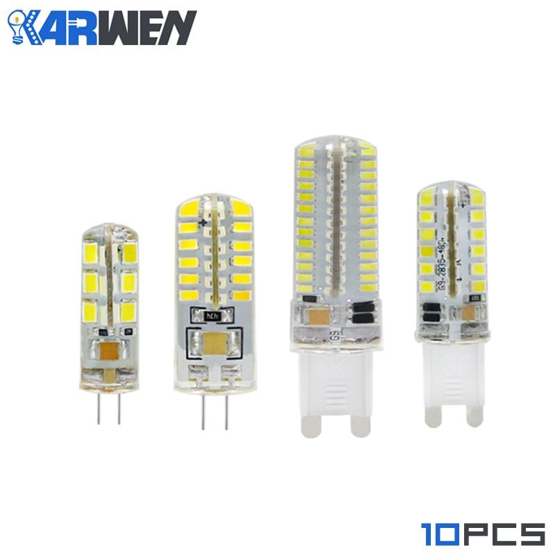 KARWEN 10pcs/lot G4 G9 LED Bulb Lamp SMD3014 2835 3W 5W 7W 9W DC 12V AC 220V 24 48 64 104leds Chandelier 360 Degree Crystal Spot