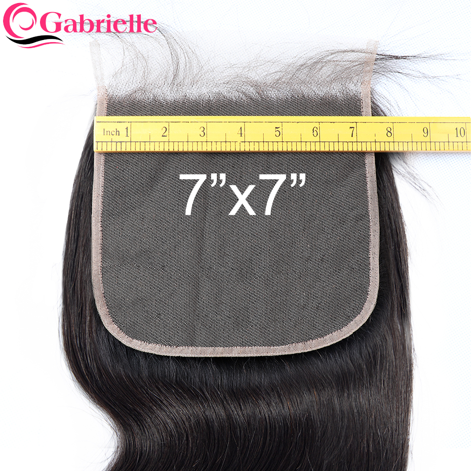 Gabrielle 7x7 Closure Brazilian Body Wave Human Hair Lace Closure With Baby Hair Swiss Lace Natural Color Remy Hair Extensions(China)