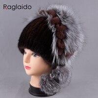 새로운 여성의 모자 니트 진짜 밍크 모자 여자 진짜 모피 겨울 모자 따뜻한 비니 여우 모피 공 모자 LQ11245