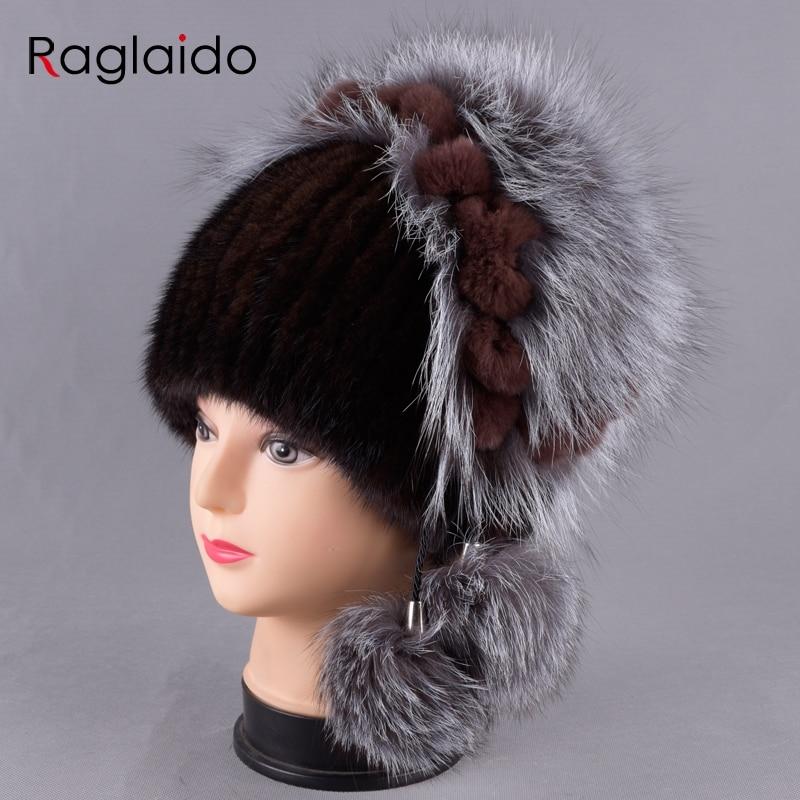 New Women's Hat Knitted Real Mink Hats for Girls Real Fur Winter hats warm Beanies Fox fur Ball Cap LQ11245