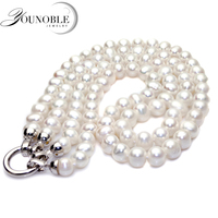 Genuine Freshwater Pearl Necklace Set Women Real Wedding Natural Pearl Necklaces 925 Silver Jewelry Mom Birthday