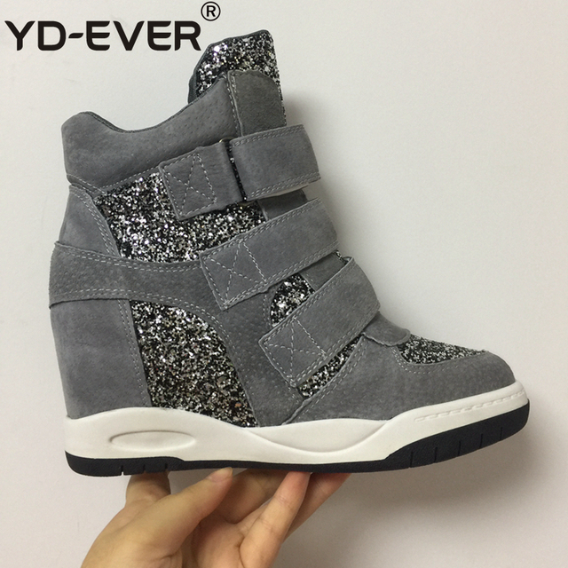 43ba2807e6 YD-EVER genuine leather Women's Casual Shoes Platform Wedge Boots Height  Increasing Shoes hook outdoor shiny glitter sneakers