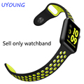 For Apple watch 38mm 42mm silicone sport strap fit Apple iwatch Series 1 Series 2 quality natural rubber watch bands
