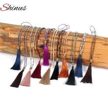 Shinus Long Necklace Necklaces Maxi Statement Women Collier Femme Jewelry Tassel Crystal Beads Buddha Pendant Handmade Bohemian