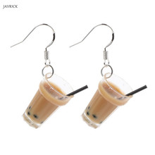 Funny S925 Ear Hooks Resin Pearl Milk Tea Drink Drop Earrings Women Jewelry Gift